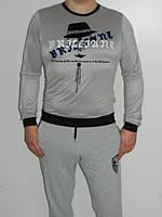 Джемпер мужской с принтом черный серый  T&N размер L-XL