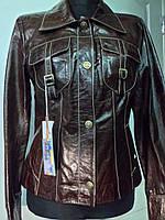 """Куртка кожаная на пуговицах цвет """"шоколад""""длина 54см 44р  ОГ-90 ОБ-92"""