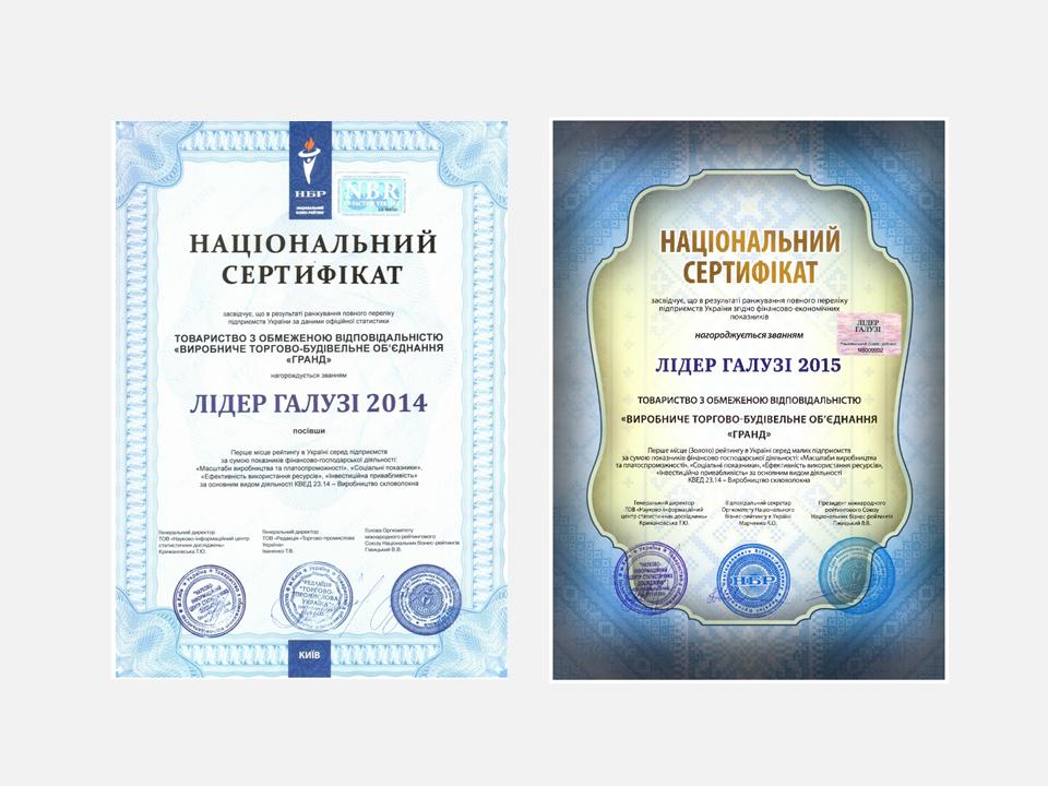 В 2014, 2015, 2016 годах предприятие за успешную деятельность по производству и реализации своей продукции удостоено звания - Лидер отрасли.