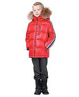 Snowimage Куртка для хлопчика р110-134 червоний пух/хутро