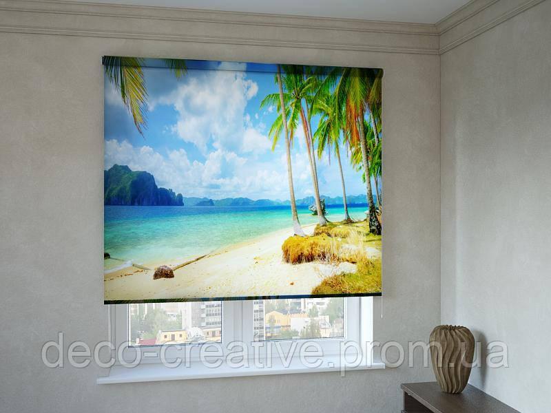 Рулонные шторы с фотопечатью пальмовый пляж