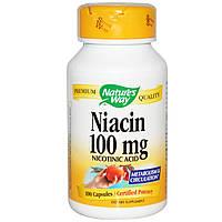 Ниацин, Nature's Way, 100 мг, 100 капсул. Сделано в США.