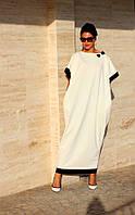 Платье белое свободный фасон длинное рукав летучая мышь, фото 1