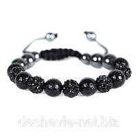 Женский браслет шамбала черного цвета Арт. 01brblack купить браслеты дешево оптом