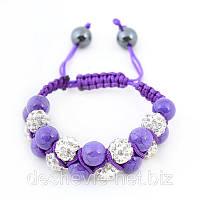 Браслет шамбала женский Арт. 05brw-purple купить браслеты шамбала оптом очень дешево
