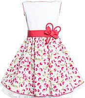 Платье для девочки нарядное белое с вишнями Польша