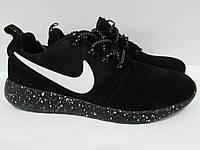 Кроссовки мужские замшевые Найк (9198-1) черные код 993А