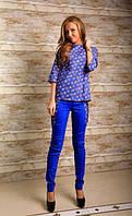Костюм брючный из джинсовой ткани с принтом «Цветы» 3 цвета