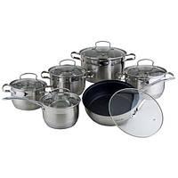 Набор посуды из нержавеющей стали 12 предметов 4007SMR кухонная посуда оптом недорого