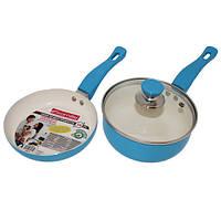 Набор сковорода 16см и ковш 16см с керамическим покрытием и крышкой 0616 купить столовую керамическую посуду Gipfel