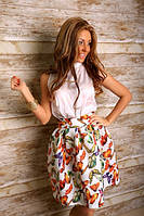 Костюм юбка со складками и кофта без рукава из шелка 2 цвета