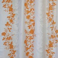 Готовая штора с прозрачными вставками на тесьме, оранж. 140СМХ260СМ