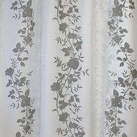 Готовая штора на тесьме с прозрачными вставками, серый, 140СМХ260СМ