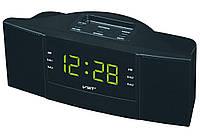 Радио Часы сетевые VST 907-2 зеленые, радио FM