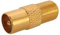 Штекер антенный для телевизионного кабеля (позолоченный), корпус металлический