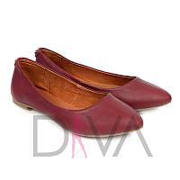 Женские кожаные балетки - покупка со скидкой, отличная цена Арт.5012-7bordo