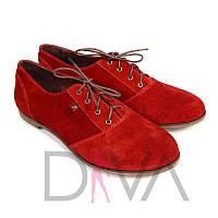 Красные модные туфли женские из натуральной замши Арт.50091-5red купить женские туфли дешево со скидкой