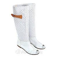 Белые короткие летние женские сапоги - магазин летних сапог Арт.9501white
