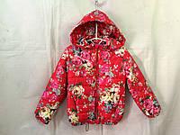 Куртка для девочки демисезонная 2-6 лет,ЦВЕТЫ красная