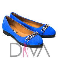 Яркие модные балетки женские замшевые 5012-9-1blue продажа обуви в Украине