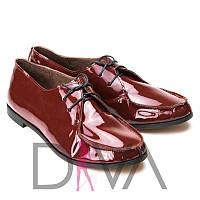 Лакированные туфли женские кожаные из натуральной кожи 5011-5-2bordo