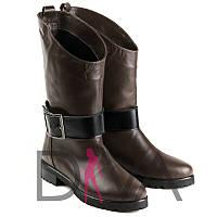 Стильные сапоги женские кожаные демисезонные Арт.7007-12brownd купить сапоги Италия в интернет-магазине дешево