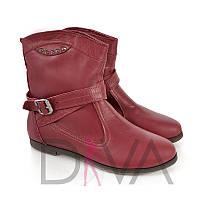 Ботинки женские бордовые зимние 100% кожа Арт.7004bordoz купить стильную обувь на зиму недорого
