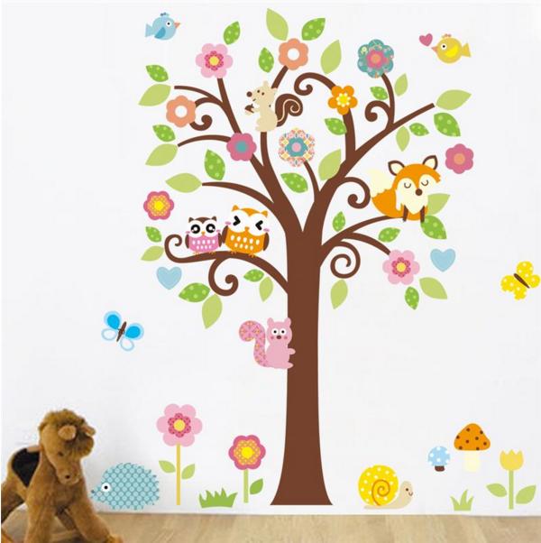 """Наклейка на стену, украшения стены наклейки  """"Дерево в детскую"""" 135см*115см (2листа 50*70см и 40*60см)"""