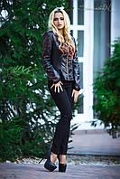 Классический кожаный жакет куртка, с перфорацией, 42-48 размера, фото 1