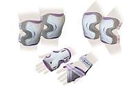 Защита спорт. наколенники, налокот., перчатки для взрослых ZEL GRACE (р-р M, L, фиолет-сер)