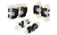 Защита спорт. наколенники, налокот., перчатки для взрослых ZEL GRACE (р-р M, L, желтая), фото 1