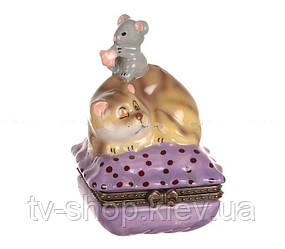 Шкатулка фарфоровая Кошки-мышки ,9 см