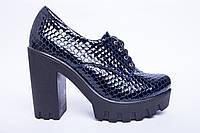 Туфли из натуральной синей лаковой кожи №310-3, фото 1