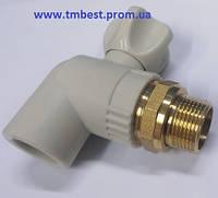 """Кран радиаторный(батарейный) полипропиленовый угловой(КБУ) 25х1/2"""" ППР(PPR) для радиаторов."""