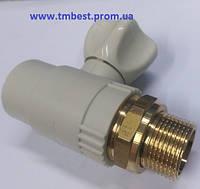"""Кран радиаторный(батарейный) прямой полипропиленовый 25х3/4""""(PPR) для перекрытия подачи воды в радиа"""