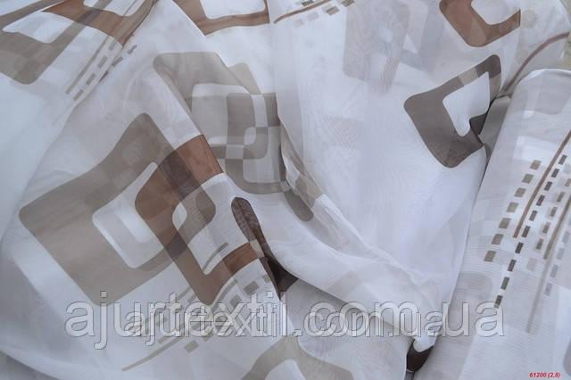 """Тюль печать """"Квадраты"""" коричневый, фото 2"""