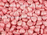 Декоративные жемчужины - Сердца розовые перламутровые - 200 г.