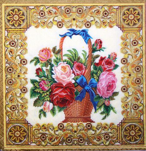 Декупажний серветка Троянди в кошику 3263