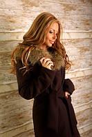 Стильное пальто из кашемира с мехом на капюшоне 3 цвета