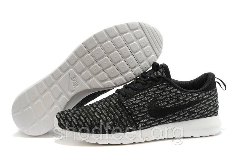 Мужские кроссовки Nike Roshe Run Flyknit Black/White