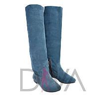 Сапоги демисезонные женские замшевые Арт.9001-1blue