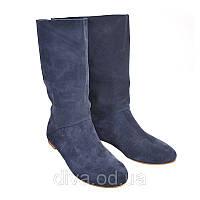 Синие сапожки женские замшевые - купить сапоги оптом дешево Арт.7002blued