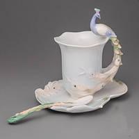 """Фарфоровая посуда для кофе: чашка, блюдце, ложка """"Павлин"""""""