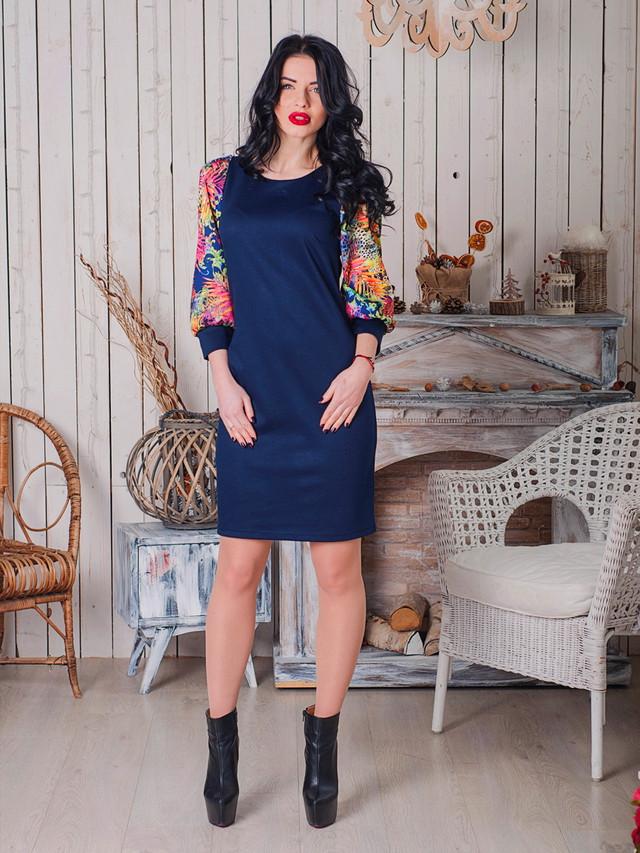 платье трикотажное женское с шелковыми рукавами, трикотажное платье с контрастными рукавами, красивое батальное платье