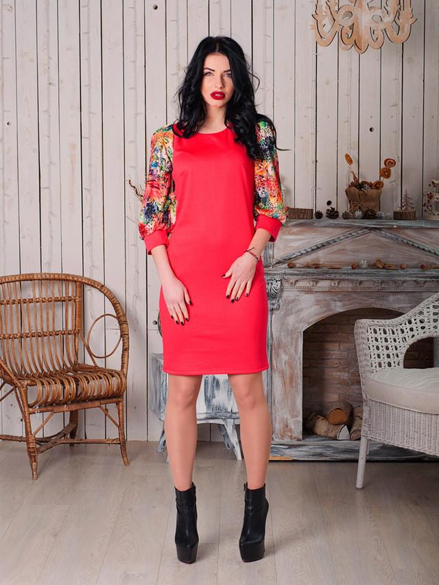красное платье скрасивыми рукавами
