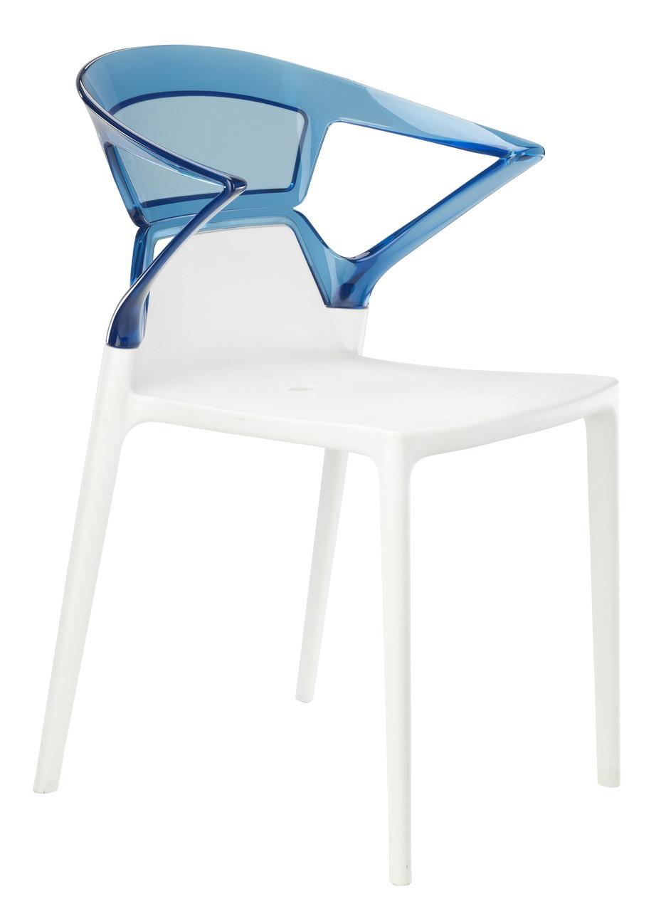Кресло Ego-K сиденье Белое верх Прозрачно-синий (Papatya-TM)