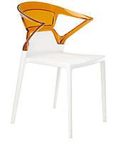 Кресло Ego-K сиденье белое верх прозрачно-оранжевый