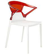 Кресло Ego-K сиденье белое верх прозрачно-красный