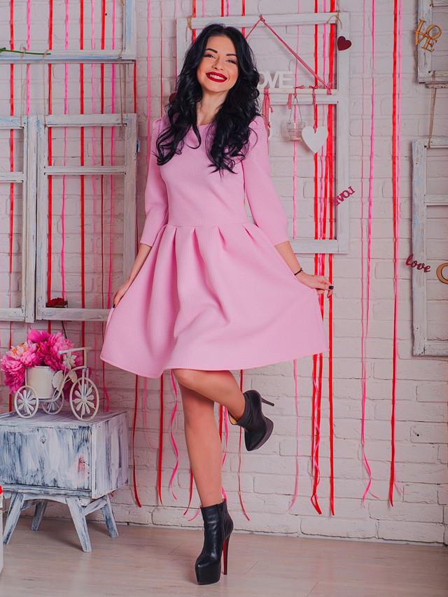 розовое молодежное платье, весенне яркое платье, платье из жаккарда