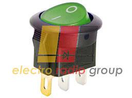Переключатель круглый с подсв. MIRS-101-8C ON-OFF, 3pin, 6,5A, 220V, зеленый (KSD105)
